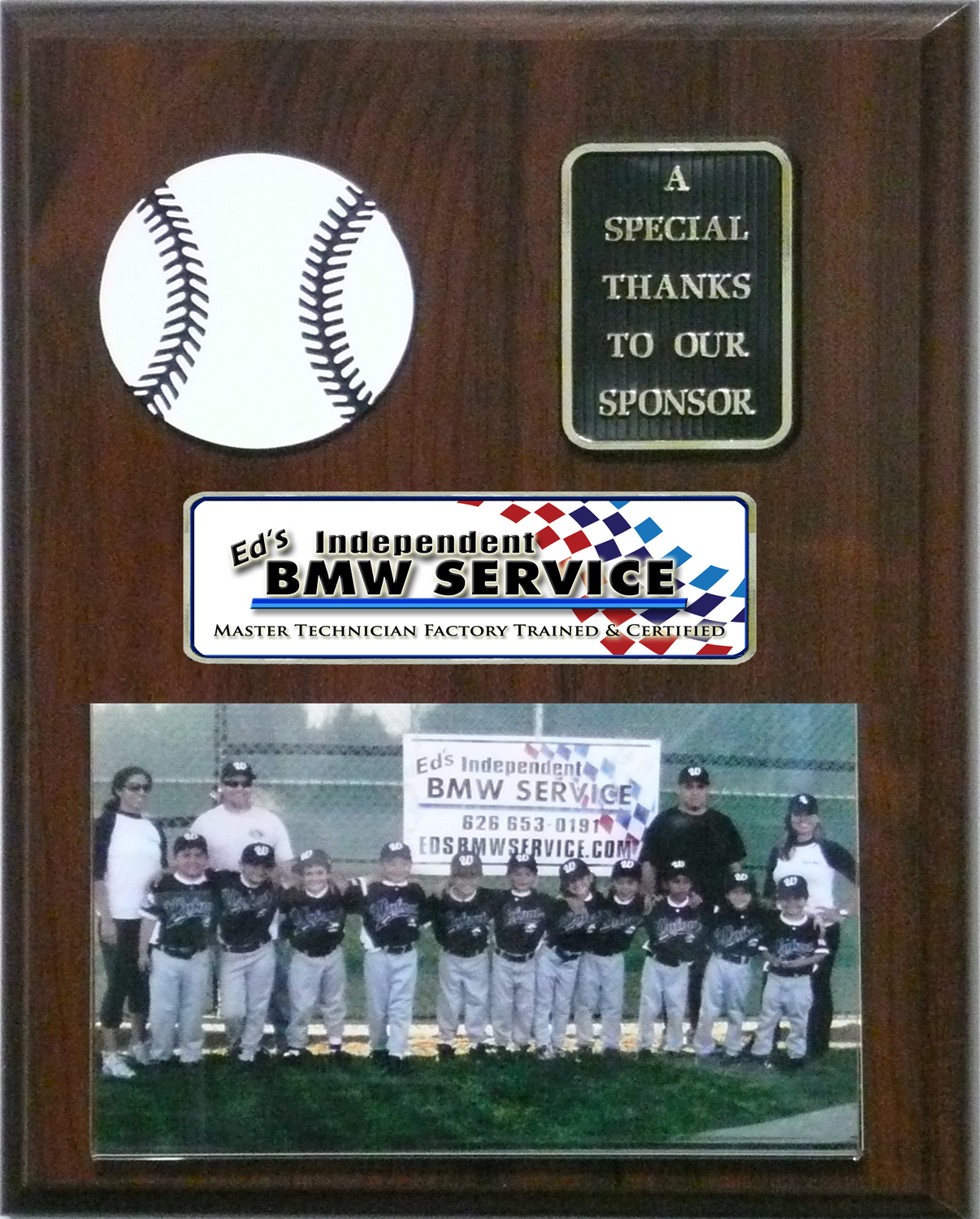 plaque for sponsoring a Little League baseball team