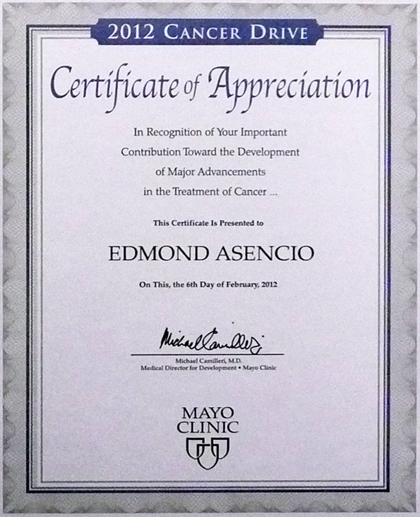Ed's certificate of support for The Mayo Clinic