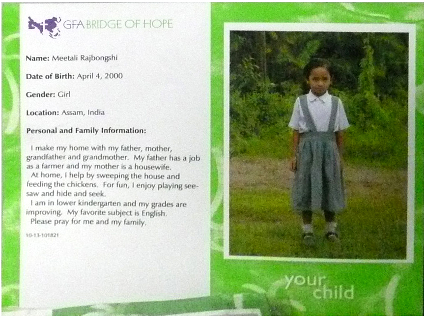 image of child sponsored