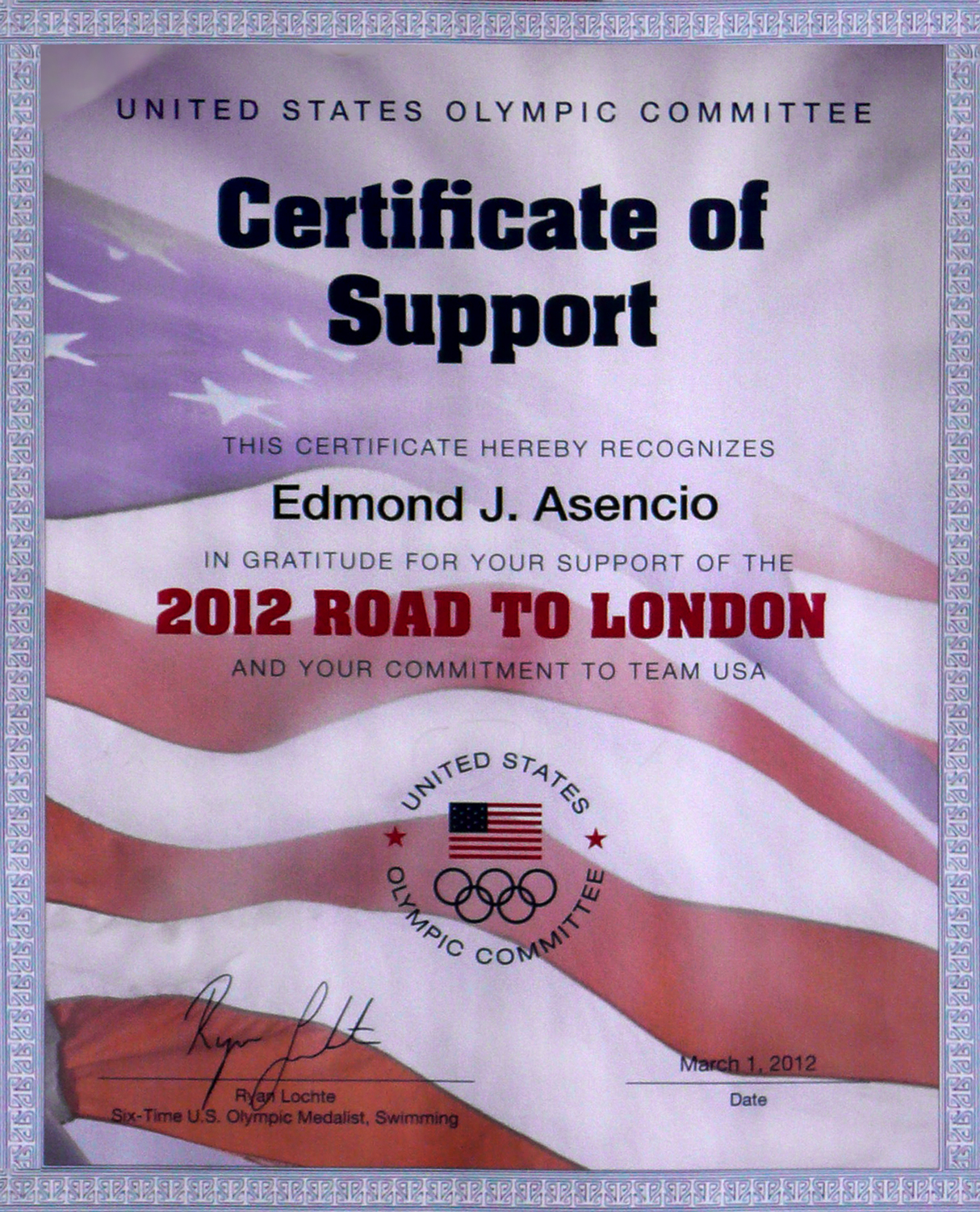 certificate for supporting the 2012 Road to London